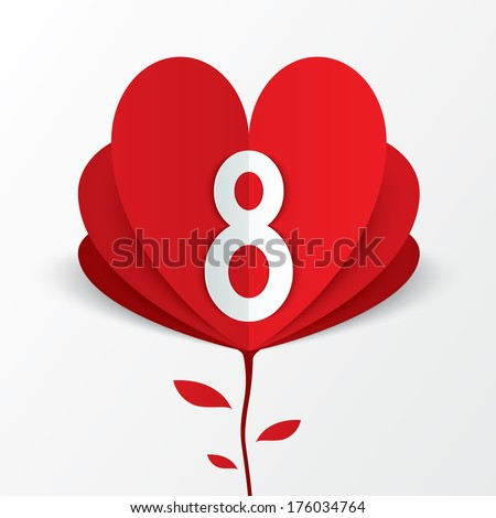 8 march red paper heart flower Women's Day card on white background. Cut from paper. Vector illustration