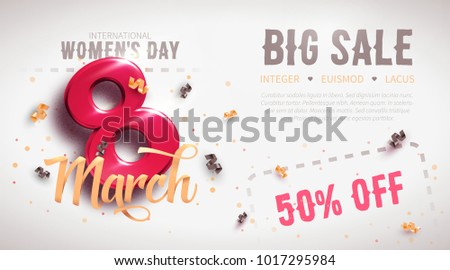 8 March sale flyer. International Women's Day. Happy Mother's Day. Number 8 with ribbon text and confetti on background. Vector Illustration.
