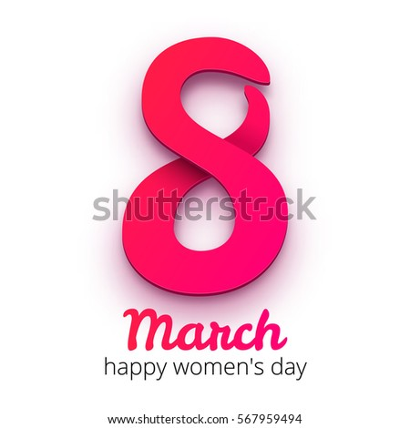8 March Women's Day. International women's day background. Greeting card template. Pink number 8 with flowers texture on white background. Vector illustration