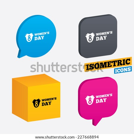 8 March Women's Day sign icon. Flower symbol. Isometric speech bubbles and cube. Rotated icons with edges. Vector - stock vector