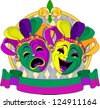 Mardi Gras Comedy and  Tragedy Masks design, with place for text - stock vector