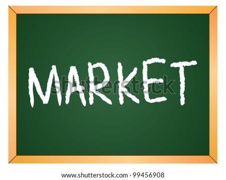 """""""market"""" word written on chalkboard - stock vector"""