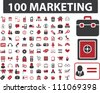 100 marketing & finance icons set, vector - stock vector