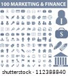 100 marketing & finance icons set, vector - stock photo