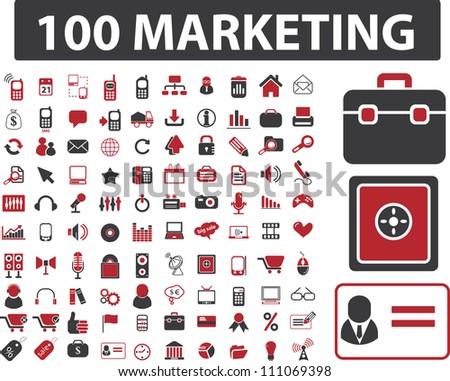 100 marketing & finance icons set, vector - stock vector