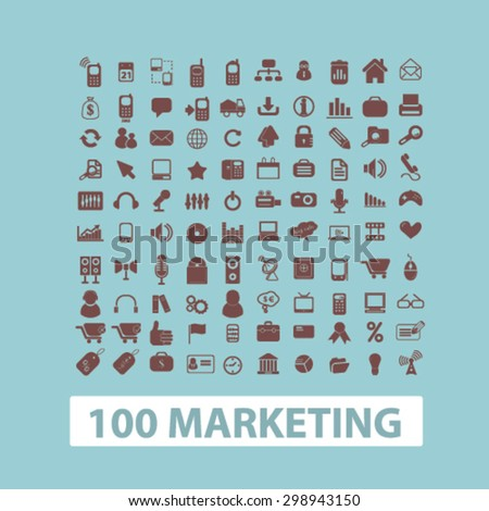 100 marketing, management, strategy, business idea isolated signs, icons vector set for web, application, design. - stock vector