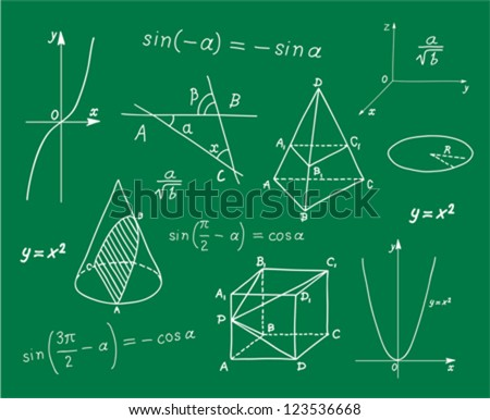 Mathematics -  geometric shapes and expressions  sketches on school board - stock vector