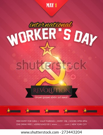 1 May Worker's Day Poster, Flyer - stock vector