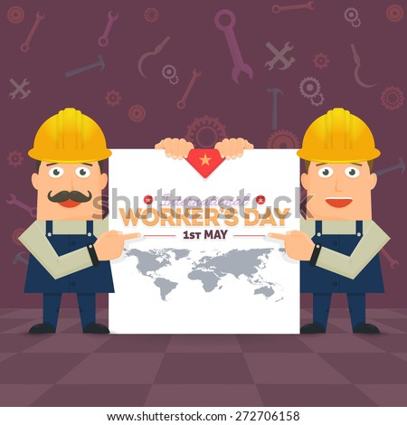 1 May Worker's Day Poster, Flyer. Presentation Construction Workers Vector Illustration - stock vector
