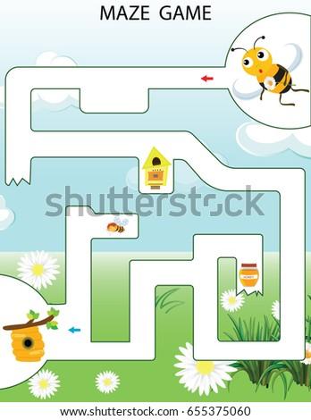 Maze Game Vector Illustration Preschool Kindergarten Stock Vector ...