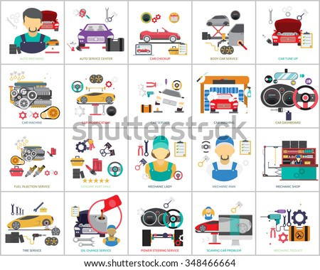 Mechanic and Car Repair - stock vector