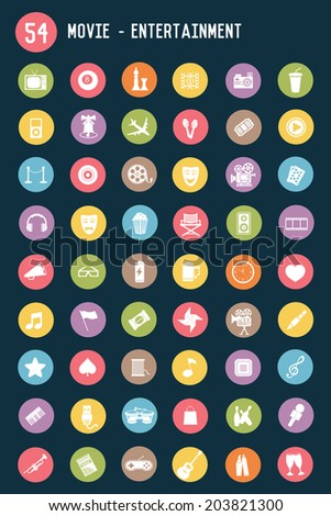 54 Media and entertainment flat icons,colour vector - stock vector