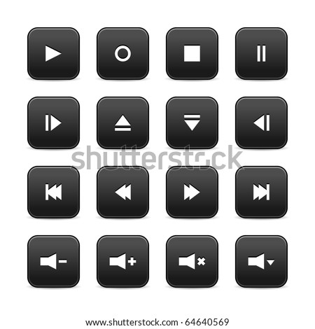 16 media audio video control web 2.0 buttons. Black rounded square shapes with shadow on white background - stock vector
