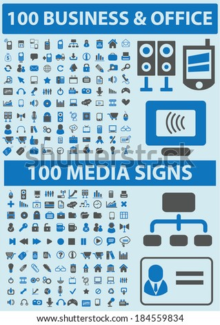 200 media, business, communication icons, signs set for website, apps, internet design - stock vector