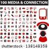 100 media & connection icons: wireless, communication, signal, application, mail, phone - stock photo