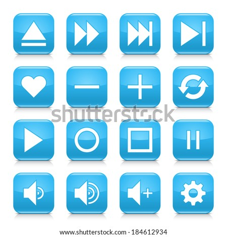 16 media control icon set 06. White sign on blue rounded square button with gray reflection, black shadow on white background. Glossy style. Vector illustration web design element in 8 eps - stock vector