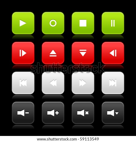 16 media control web 2.0 buttons. Colorful rounded square shapes with reflection on black background - stock vector