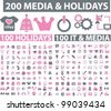 200 media & holidays icons set, vector - stock vector