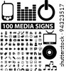 100 media icons set, vector - stock vector