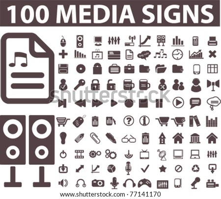 100 media icons, signs, vector illustrations - stock vector