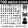 100 media icons. vector - stock vector