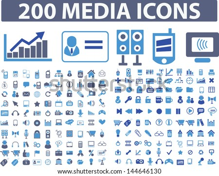 200 media, office, internet icons, signs set, vector - stock vector