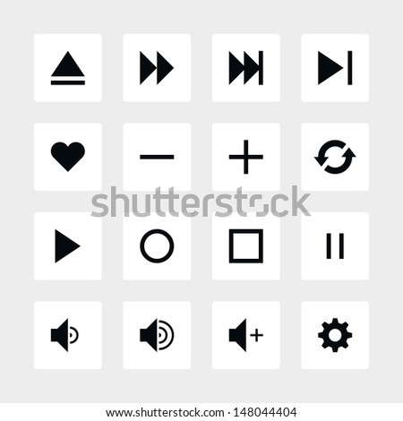 16 media player control button ui icon set 06. Black pictogram on white rounded square button. Solid plain monochrome flat tile simple modern style. Web design element vector illustration 8 eps - stock vector