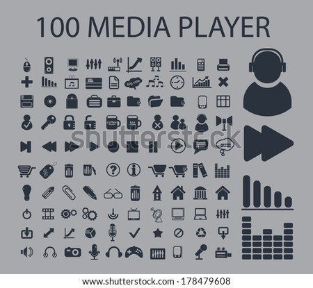 100 media player, music, internet interface icons set, vector - stock vector