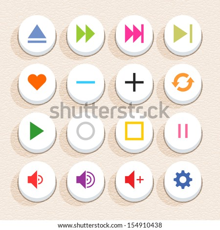 16 media sign icon set 06 (color on white). Circle button web internet shape with shadow on beige paper background with plastic texture. Simple flat style. Vector illustration design element in 10 eps - stock vector