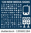 120 media signs, icons set, vector - stock vector