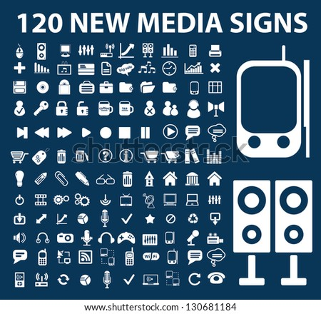 120 media signs, icons set, vector