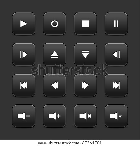 16 media web 2.0 buttons. Black rounded square with shadow on gray background - stock vector