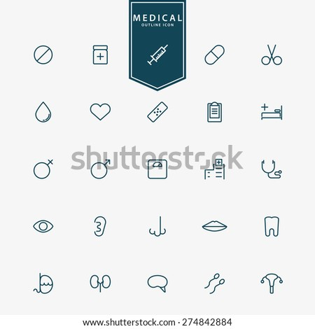 25 medical and hospital minimal line icons vector - stock vector