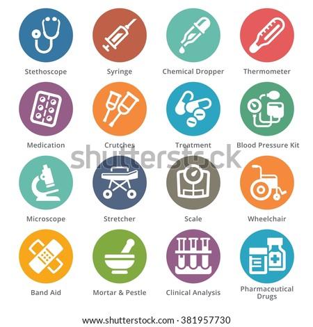 Medical Equipment & Supplies Icons Set 1 - Sympa Series | Dots  - stock vector