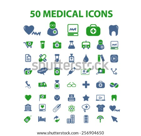 50 medical, health, hospital isolated icons, signs, illustrations concept set on background. vector - stock vector