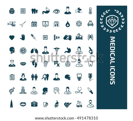 Medical & healthy care icon set, vector