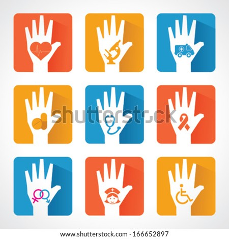 Medical icons and design with helping hand stock vector