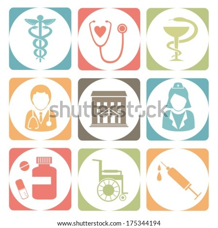 Medical icons. Color vector. EPS-10 (non transparent elements, non gradient)  - stock vector