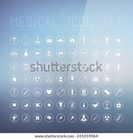 70 medical icons for web, internet, computer, mobile apps, interface design: medicine personal, nurse, doctor, pill, thermometer, health, pharmacy, hospital, ambulance symbol - stock vector