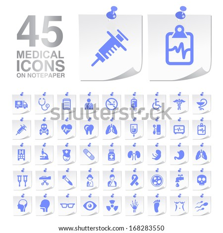 45 Medical Icons on Notepaper.  - stock vector