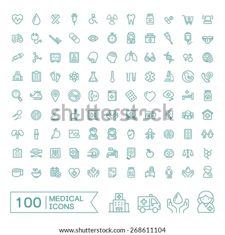 100 medical icons set over white background - stock vector
