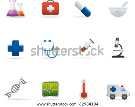 04 Medicine and Health Care Icons Professional vector set for your website, application, or presentation. The graphics can easily be edited colored individually and be scaled to any size - stock vector