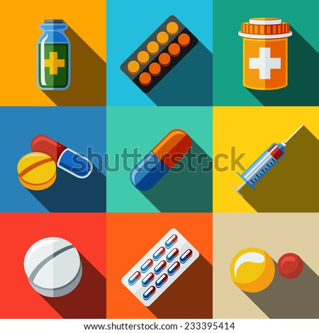 """Medicine (drugs) flat icons set with long shadow - pillsbox, tablets, pill, blister, vitamins, syringe, liquid medicine. - stock vector"