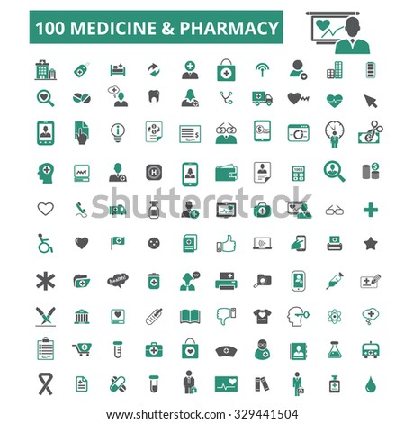 100 medicine, pharmacy, health care, doctor, therapy icons - stock vector