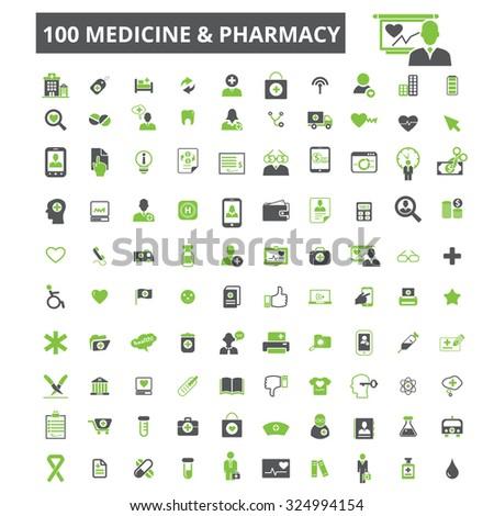 100 medicine, pharmacy icons - stock vector