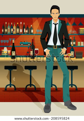 Men in a restaurant with a liquor and wine as a backdrop. - stock vector