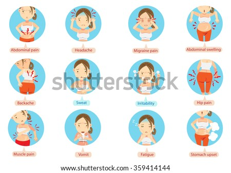 menstruation pain or stomach ache.Cartoon character of the women in the circle vector illustration. - stock vector