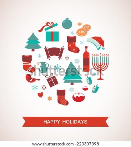 merry christmas and happy hanukkah.  Seasonal objects - stock vector