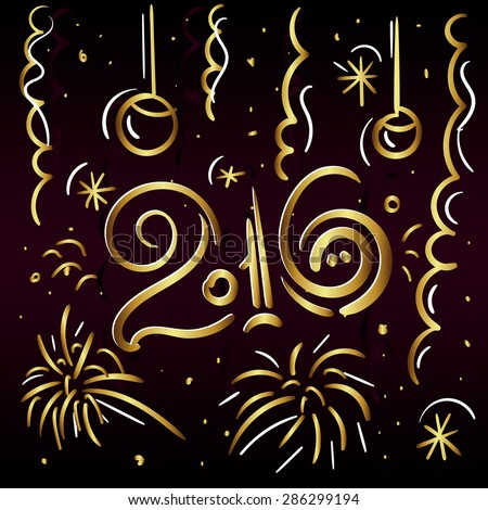 2016 Merry Christmas and Happy New Eap zgreeting card in gold letters on a dark background with fireworks, streamers and balloons. Vector Illustration - stock vector