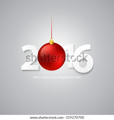 2016 Merry Christmas and Happy New Year Background. Vector illustration EPS 10 - stock vector
